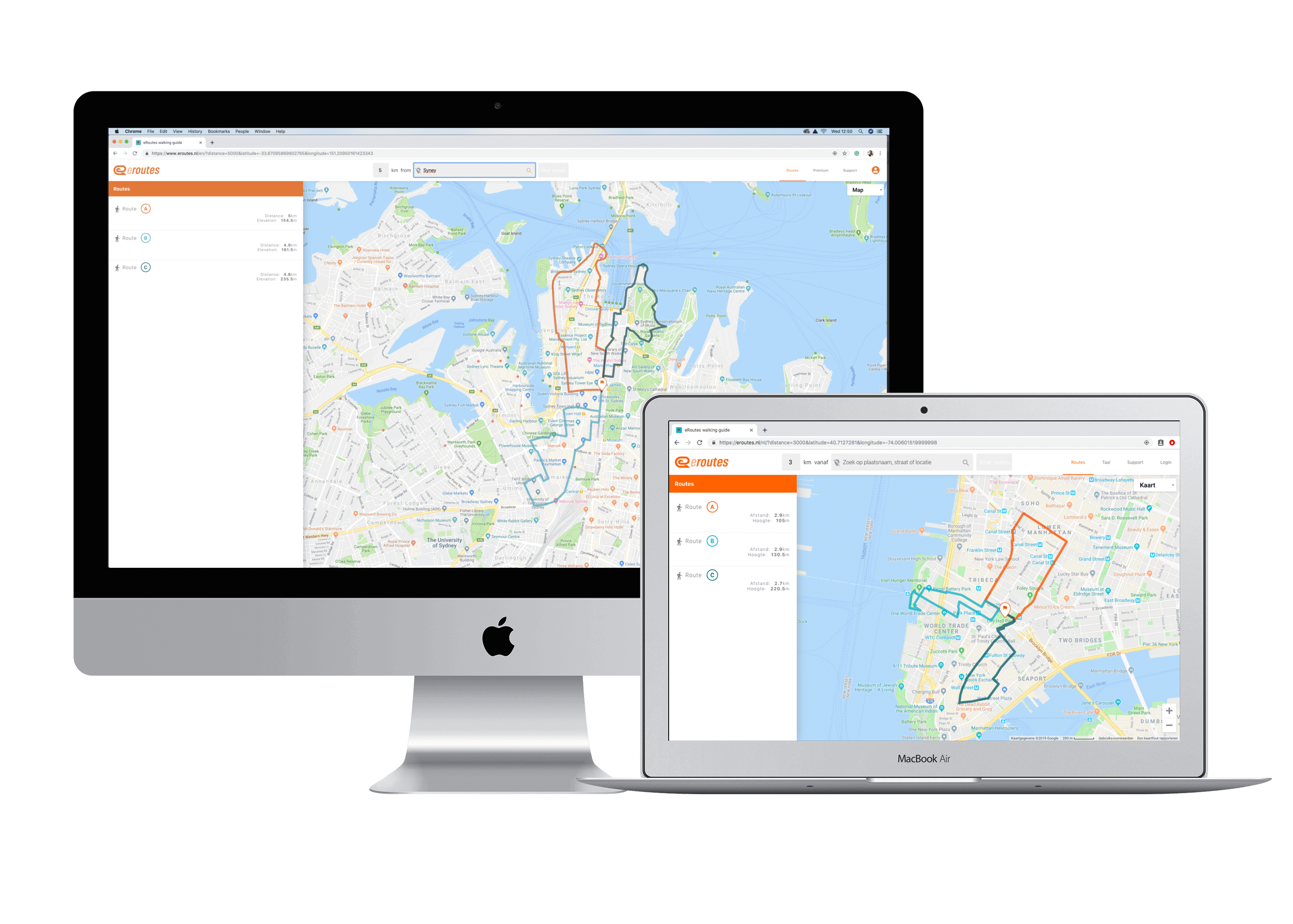 eRoutes route planner on laptop and imac